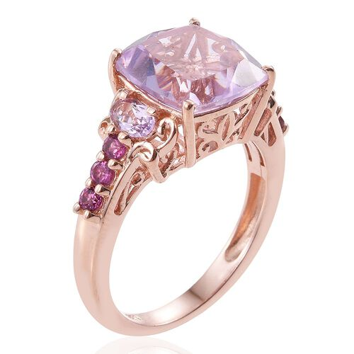 Rose De France Amethyst (Cush 5.20 Ct), Rhodolite Garnet Ring in Rose Gold Overlay Sterling Silver 6.000 Ct.