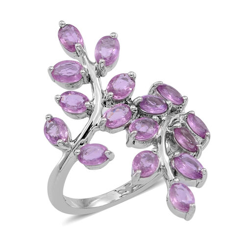 9K W Gold Pink Sapphire (Ovl) Leaves Crossover Ring 3.500 Ct.