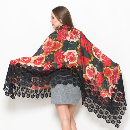 (Hand Knitted - 50% Mulberry Silk and 50% Merino Wool) Rose and Multi Colour Floral Pattern Black Colour Scarf with Nylon Floral Lace Border (Size 170x75 Cm)