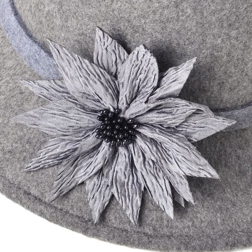 Black Colour Flower Adorned Hat (Size 16 Cm)