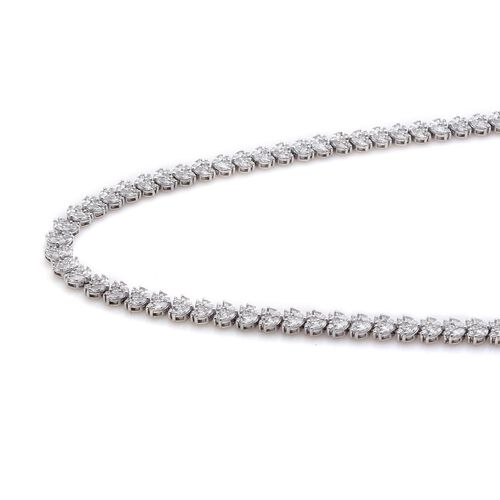 J Francis - Platinum Overlay Sterling Silver (Mrq) Necklace (Size 18) Made with SWAROVSKI ZIRCONIA