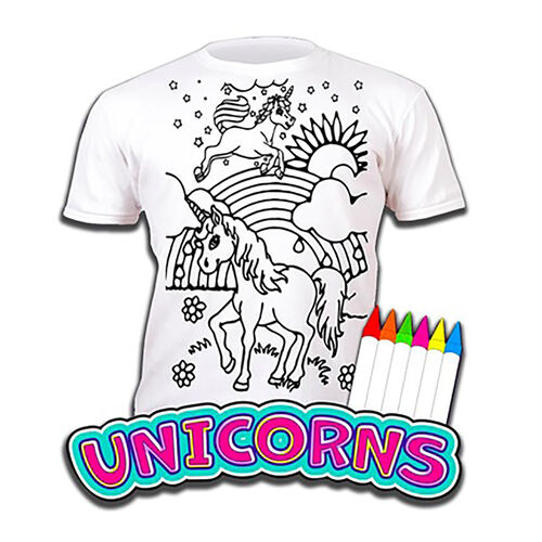 100% Cotton Unicorns Childrens T-Shirt Age 7-8 (Large) (Size 128 Cm) Estimated delivery within 5-7 working days