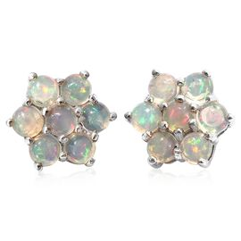 Ethiopian Welo Opal (Rnd) Floral Stud Earrings (with Push Back) in Platinum Overlay Sterling Silver 1.000 Ct.
