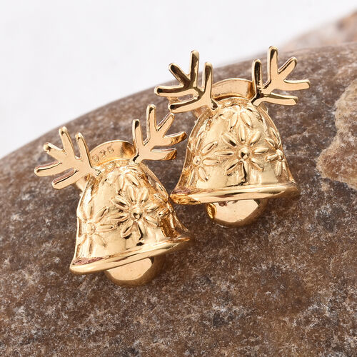 14K Gold Overlay Sterling Silver Christmas Bell Stud Earrings (with Push Back)