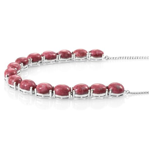 Norwegian Thulite (Ovl) Necklace (Size 18) in Platinum Overlay Sterling Silver 45.000 Ct. Silver wt 13.47 Gms.