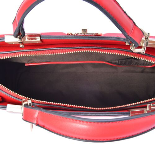 Red Colour Diamond Pattern Crossbody Bag with Adjustable Shoulder Strap (Size 31x18x8 Cm)