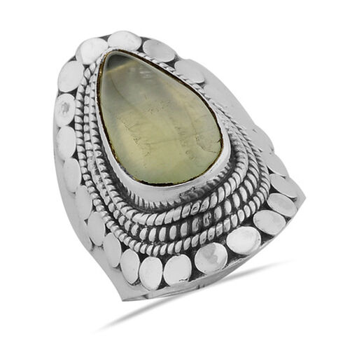 ARTISAN CRAFTED Prehnite (5.50 Ct) Sterling Silver Ring