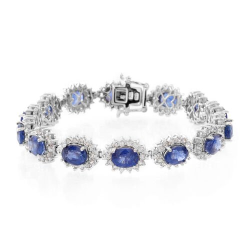 Premium Collection - Designer Inspired Masoala Sapphire (Ovl), Natural Cambodian Zircon Bracelet (Size 7.75) in Rhodium Plated Sterling Silver 31.000 Ct. Silver wt 19.50 Gms.No. of Gems 210