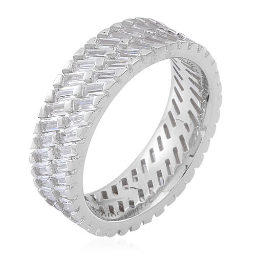 Signature Collection ELANZA AAA Simulated White Diamond (Bgt) Ring in Rhodium Plated Sterling Silver
