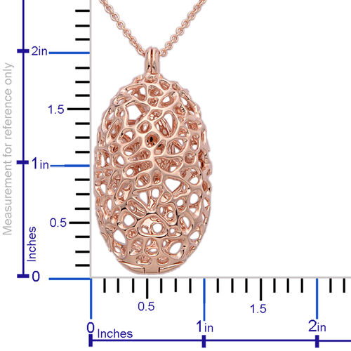 RACHEL GALLEY Rose Gold Overlay Sterling Silver Charmed Pebble Necklace (Size 30), Silver wt 25.12 Gms.