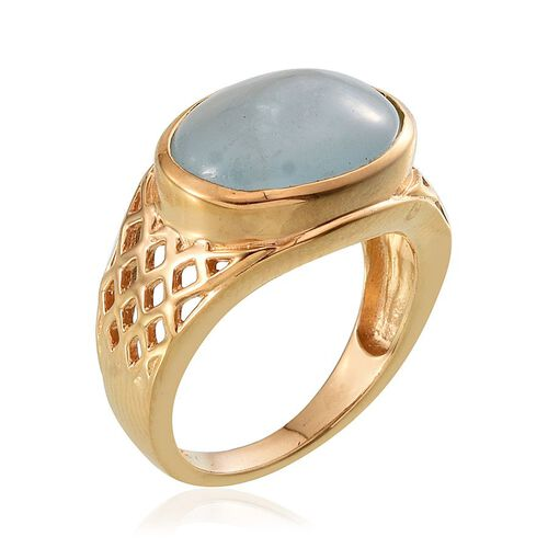 Espirito Santo Aquamarine (Ovl) Ring in 14K Gold Overlay Sterling Silver 6.250 Ct.
