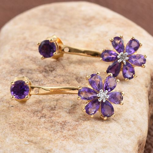 Lusaka Amethyst (Pear), Diamond Floral Earrings (with Push Back) in 14K Gold Overlay Sterling Silver 3.020 Ct.