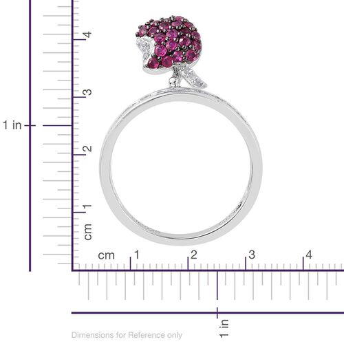 GP Burmese Ruby (Rnd), Kanchanaburi Blue Sapphire and Diamond Apple Charm Ring in Platinum Overlay Sterling Silver 0.970 Ct.