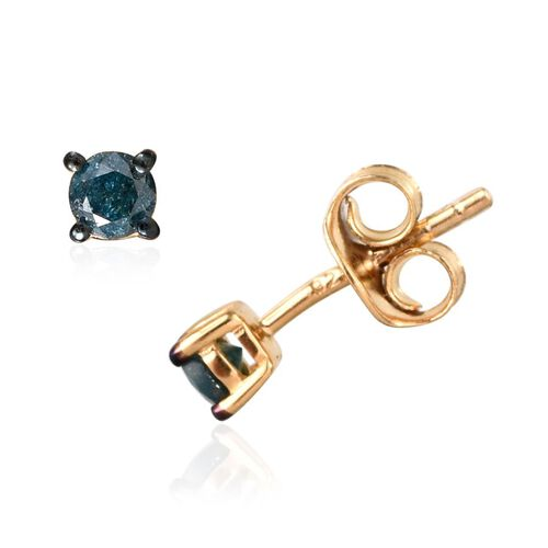 Blue Diamond (Rnd) Stud Earrings (with Push Back) in 14K Gold Overlay Sterling Silver 0.250 Ct.