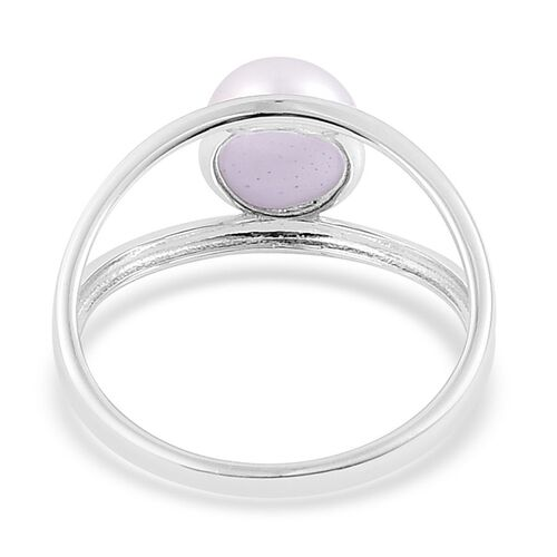 Fresh Water White Pearl Solitaire Ring in Rhodium Plated Sterling Silver