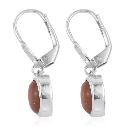 Morogoro Peach Sun Stone (Rnd) Lever Back Earrings in Platinum Overlay Sterling Silver 4.250 Ct.