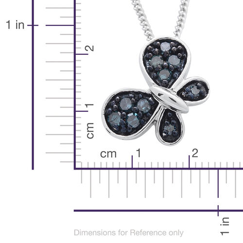 Blue Diamond (Rnd) Butterfly Pendant With Chain in Platinum Overlay Sterling Silver 0.150 Ct.