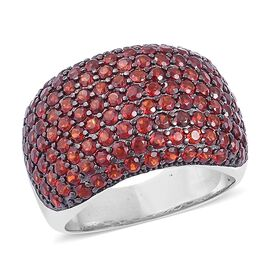 Christmas Cocktail Collection- Mozambique Garnet Cluster Ring in Black Rhodium Plated Sterling Silver 5.750 Ct.