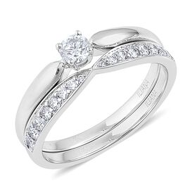 ILIANA 18K White Gold IGI Certified 0.50 Carat Diamond SI G-H Bridal Ring Set