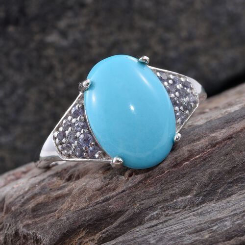 Arizona Sleeping Beauty Turquoise (Ovl 3.50 Ct), Tanzanite Ring in Platinum Overlay Sterling Silver 3.750 Ct.