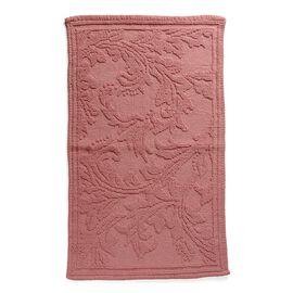 Bath Collection - 100% Cotton Pink Colour Floral Design Sculpted Bath Mat (Size 80X50 Cm)