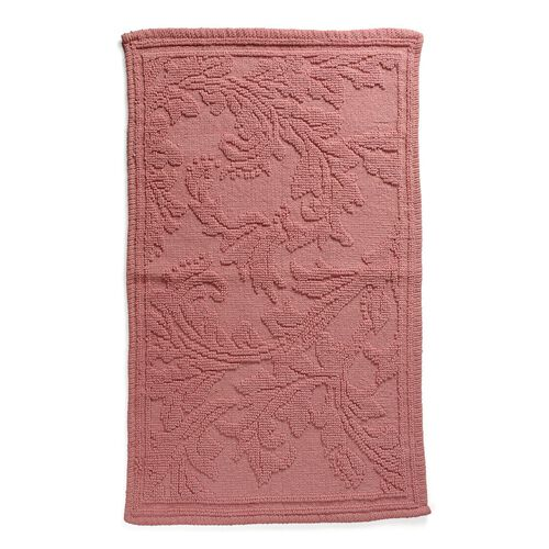 Bath Collection - 100% Cotton Pink Colour Floral Design Sculpted Bath Mat (Size 80X50 Cm)