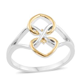 Platinum and Yellow Gold Overlay Sterling Silver Infinity Heart Ring