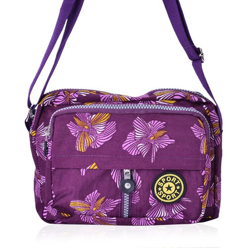 Dark Fuchsia and Multi Colour Floral Pattern Waterproof Sports Bag with External Zipper Pocket and Adjustable Shoulder Strap (Size 22X16X6 Cm)