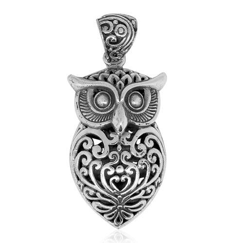 Designer Inspired- Sterling Silver Owl Pendant, Silver wt. 9.00 Gms.