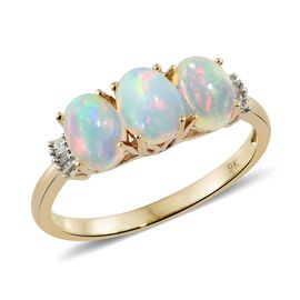 Ethiopian Opal (1.45 Ct) and Diamond 9K Y Gold Ring  1.500  Ct.