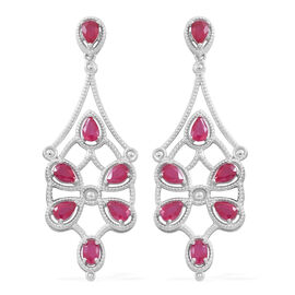 Designer Inspired-African Ruby (Ovl) Dangling Earrings (with Push Back) in Rhodium Plated Sterling Silver 6.750 Ct. Silver wt 13.60 Gms.