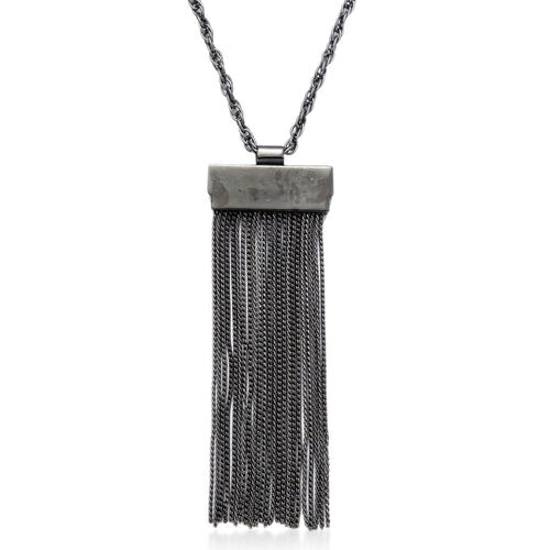 Tassel Necklace (Size 26 with Extender) in Black Tone