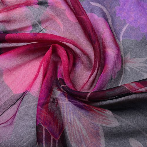 100% Mulberry Silk Black, Pink and Purple Colour Floral Printed Scarf (Size 180X50 Cm)