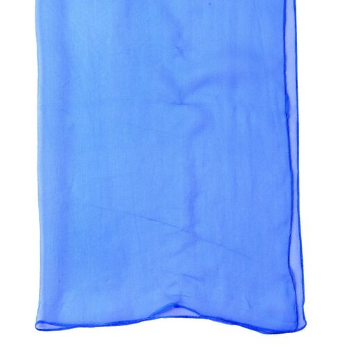 100% Mulberry Silk Blue Colour Scarf (Size 170X60 Cm)