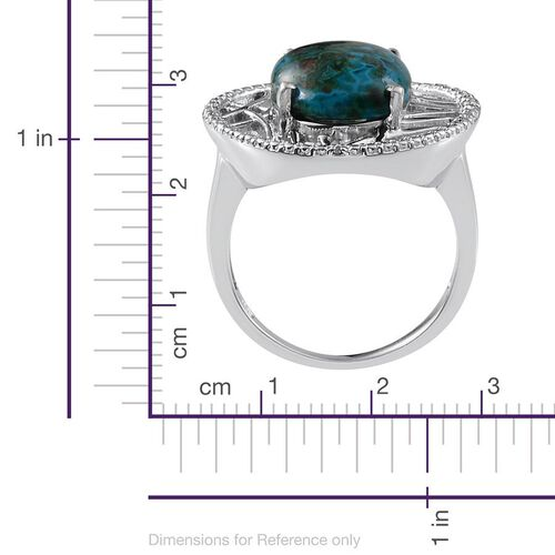 Table Mountain Shadowkite (Ovl 10.25 Ct), Diamond Ring in Platinum Overlay Sterling Silver 10.270 Ct. Silver wt. 6.45 Gms.