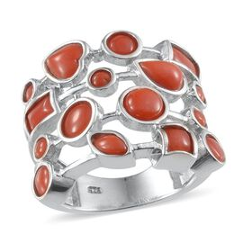 Natural Mediterranean Coral Ring in Platinum Overlay Sterling Silver 3.080 Ct.
