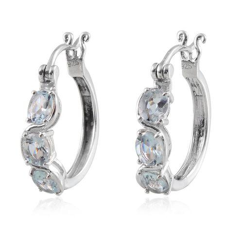 Espirito Santo Aquamarine (Ovl) Hoop Earrings in Platinum Overlay Sterling Silver 1.750 Ct.