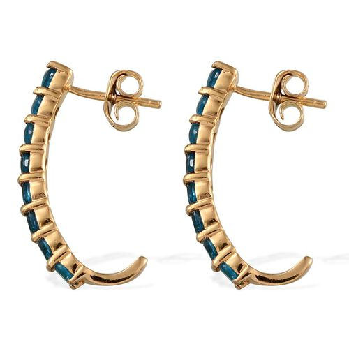 Malgache Neon Apatite (Rnd) J Hoop Earrings (with Push Back) in Yellow Gold Overlay Sterling Silver 1.500 Ct.