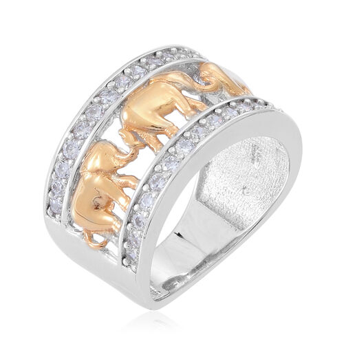 ELANZA AAA Simulated Diamond (Rnd) Royal Thai Elephant Band Ring in Platinum and Yellow Gold Overlay Sterling Silver