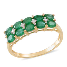 9K Y Gold AAA Kagem Zambian Emerald (Ovl), Natural White Cambodian Zircon Ring 1.540 Ct.