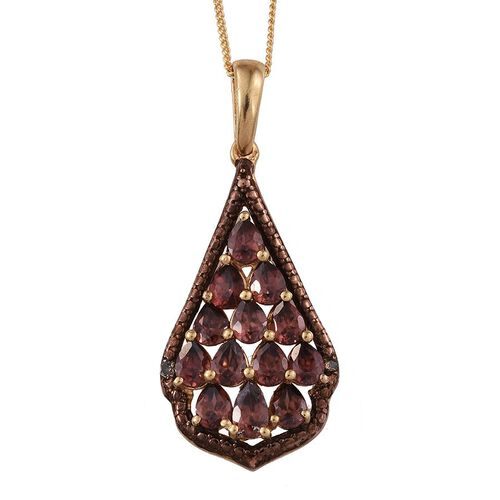 AA Umba River Zircon (Pear), Champagne Diamond Pendant With Chain in 14K Gold Overlay Sterling Silver 3.010 Ct.
