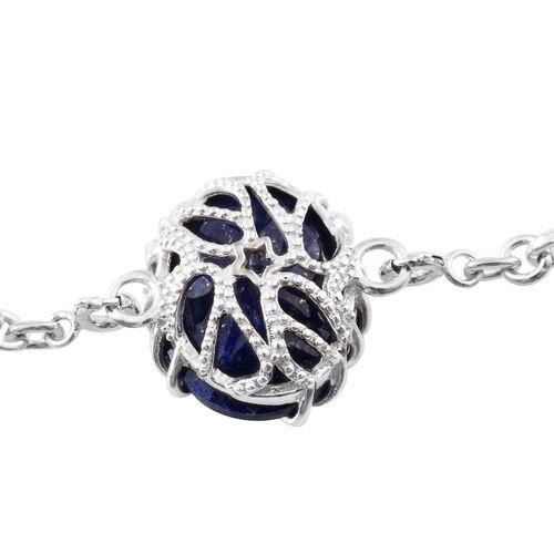 GP Lapis Lazuli (Ovl 14.50 Ct), Kanchanaburi Blue Sapphire Bracelet (Size 7.5) in Platinum Overlay Sterling Silver 19.050 Ct.