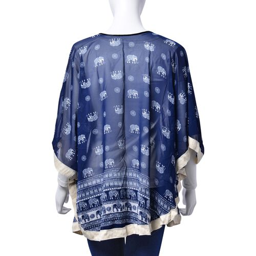 Elephant Pattern White and Dark Blue Colour Poncho (Free Size)