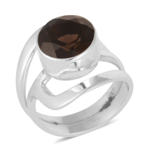 Royal Bali Collection Brazilian Smoky Quartz (Rnd) Solitaire Ring in Sterling Silver 3.20 Ct.