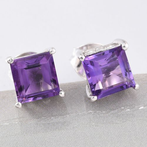 Amethyst 2 Carat Silver Solitaire Stud Earrings in Platinum Overlay