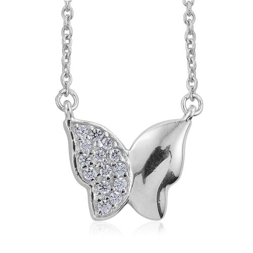 J Francis - Platinum Overlay Sterling Silver (Rnd) Butterfly Necklace (Size 18) and Butterfly Lever Back Earrings Made with SWAROVSKI ZIRCONIA