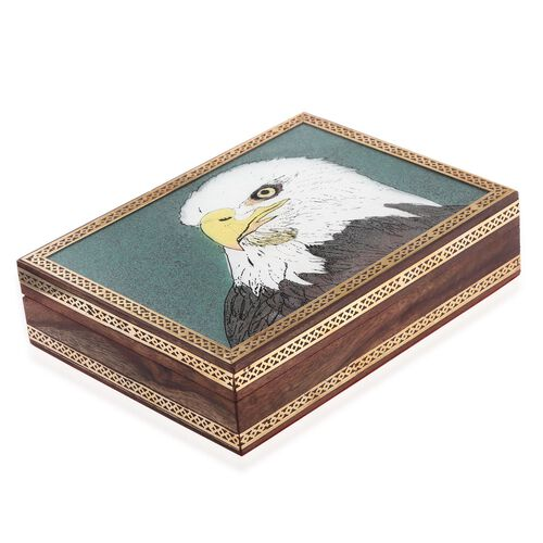 Option-1 Handcrafted Wooden Gemstone Jewellery Box with Eagle Painting on Top (Size 21x16x5 Cm)