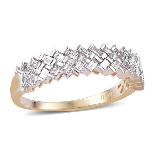 ILIANA 18K Y Gold IGI Certified Diamond (Bgt) (SI/ G-H) Ring 0.500 Ct.