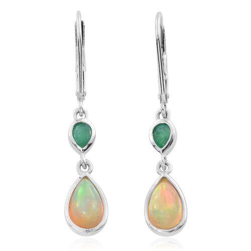 Ethiopian Welo Opal (Pear), Kagem Zambian Emerald Lever Back Earrings in Platinum Overlay Sterling Silver 1.250 Ct.