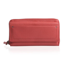 Genuine Leather RFID Blocker Plum Colour Wallet with Multiple Card Slots (Size 19X10.5X5 Cm)